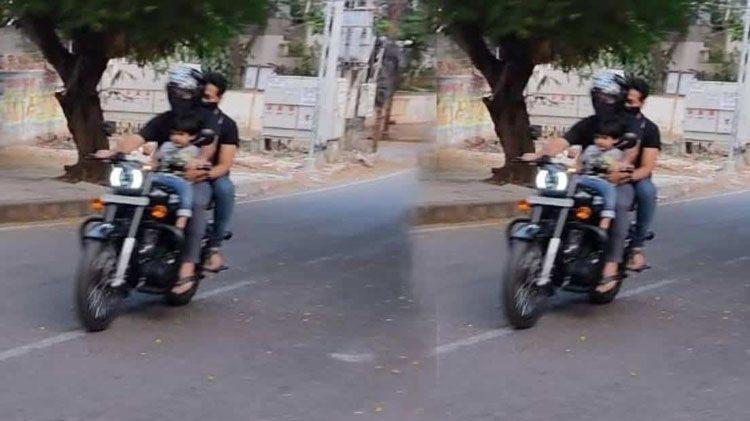 కొడుకుతో హైదరాబాద్ రోడ్లపై ఎన్టీఆర్ చక్కర్లు..!